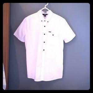 Men's small white button down shirt.